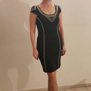 Marella (Italy) Small Black Dress with Rich Decoration
